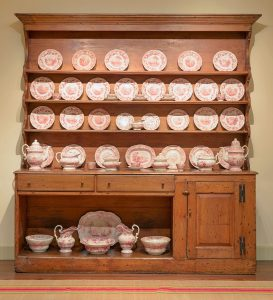 Pine dresser with pink Staffordshire
