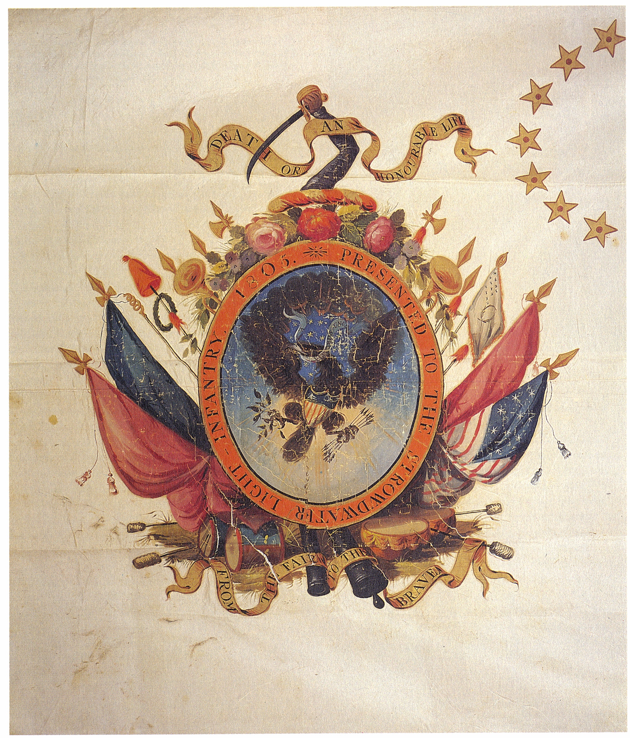 Detail, Stroudwater Light Infantry Company banner. 1805