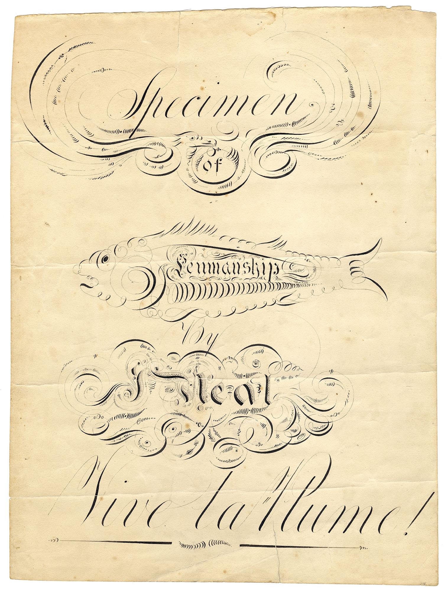 John Neal, Specimen / of / Penmanship / by / J. Neal / Vive La Plume!, ca. 1813