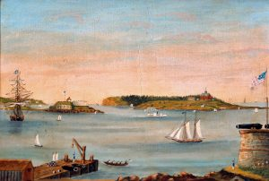 Unidentified artist, View of Portland Harbor, Cushing's Island and Fort Scammel from Fort Preble, 1853-1862