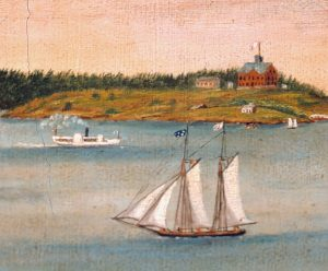 Detail, View of Portland Harbor, Cushing's Island and Fort Scammel from Fort Preble, 1853-1862.