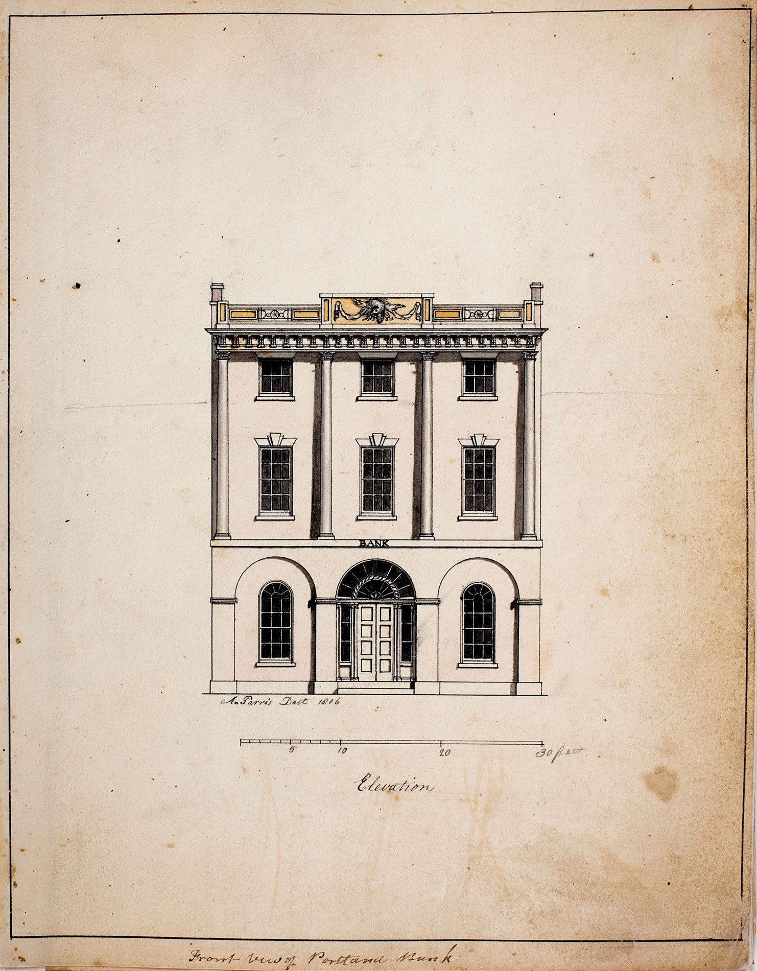 Alexander Parris, Front View of Portland Bank, 1806