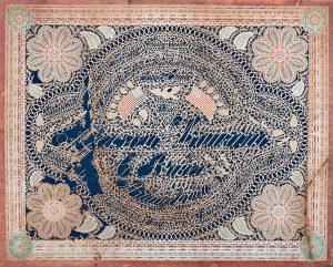 "The Jeffferson Wigwam Cutwork. Cutwork inscribed in filigree, ""July 4, 1776, Philadelphia, Liberty, Freedom, Equality"" and the names of original 13 colonies, surrounding central inscription ""Jefferson Wigwam, C. Baker, Philadelphia."""