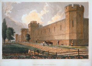 Penitentiary, Philadelphia, c. 1831. C. Burton. Hand-colored steel engraving