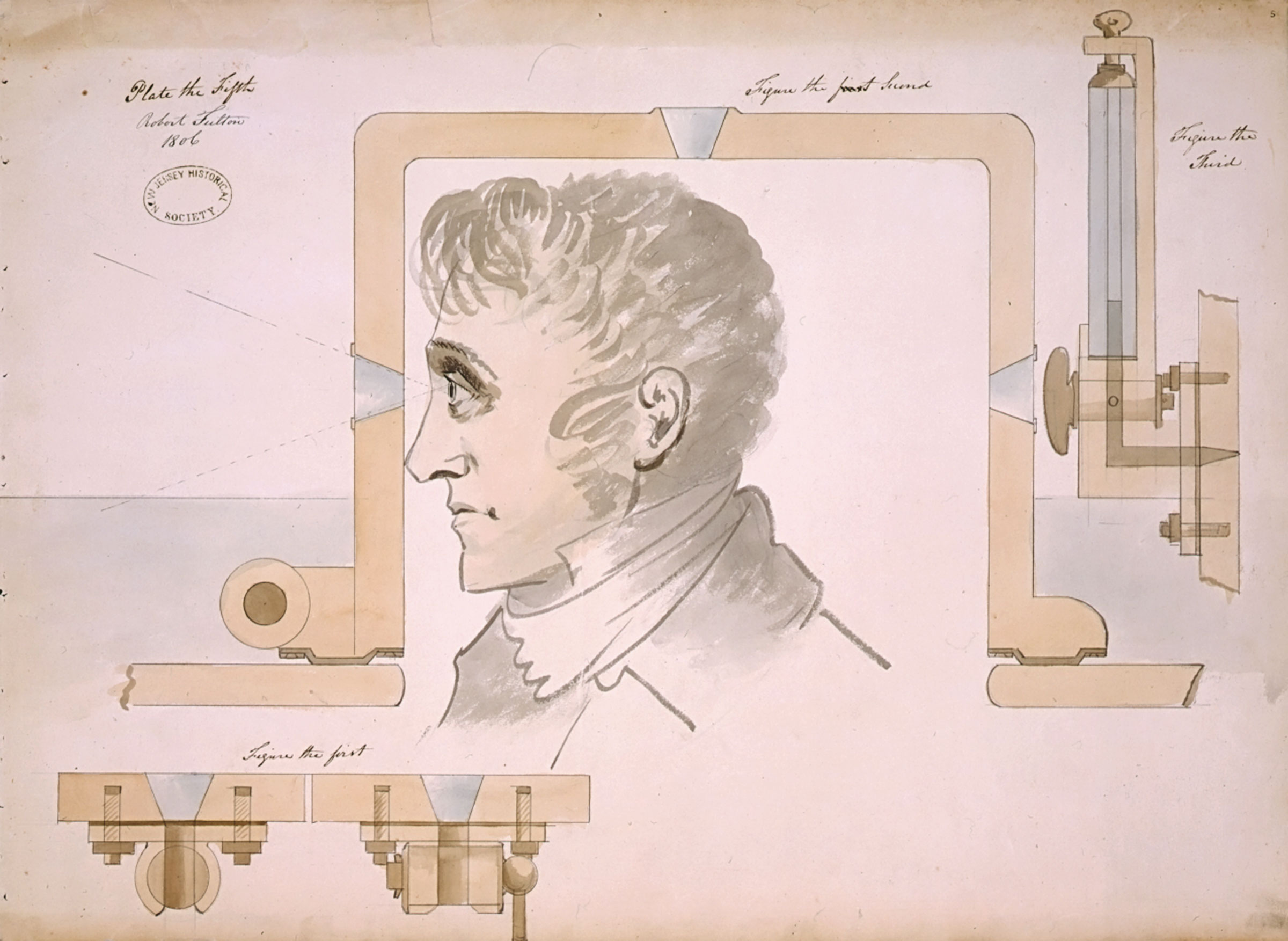 """Robert Fulton, American, 1765-1815, Vessel Sighting Mechanism details from """"Submarine Vessel, Submarine Bombs and Mode of Attack"""" for the United States Government, 1806"""