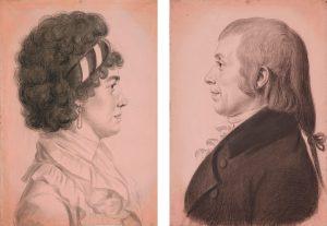 Charles Balthazar Julien Fevret de Saint-Mémin, French, 1770–1852, Silas Lee and Temperance Hedge Lee, ca. 1799