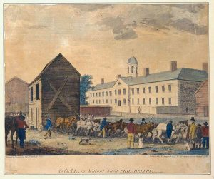 Goal, in Walnut Street Philadelphia, 1799. Hand-colored engraving by W. Birch & Sons