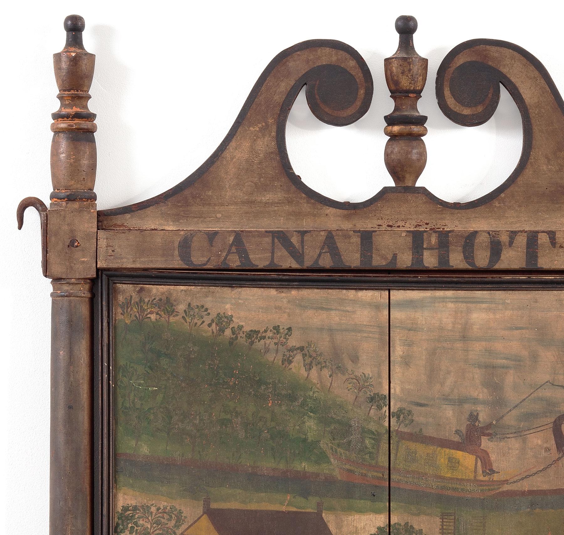 Sign for the <em>Canal Hotel</em>, detail of urn shaped finials.