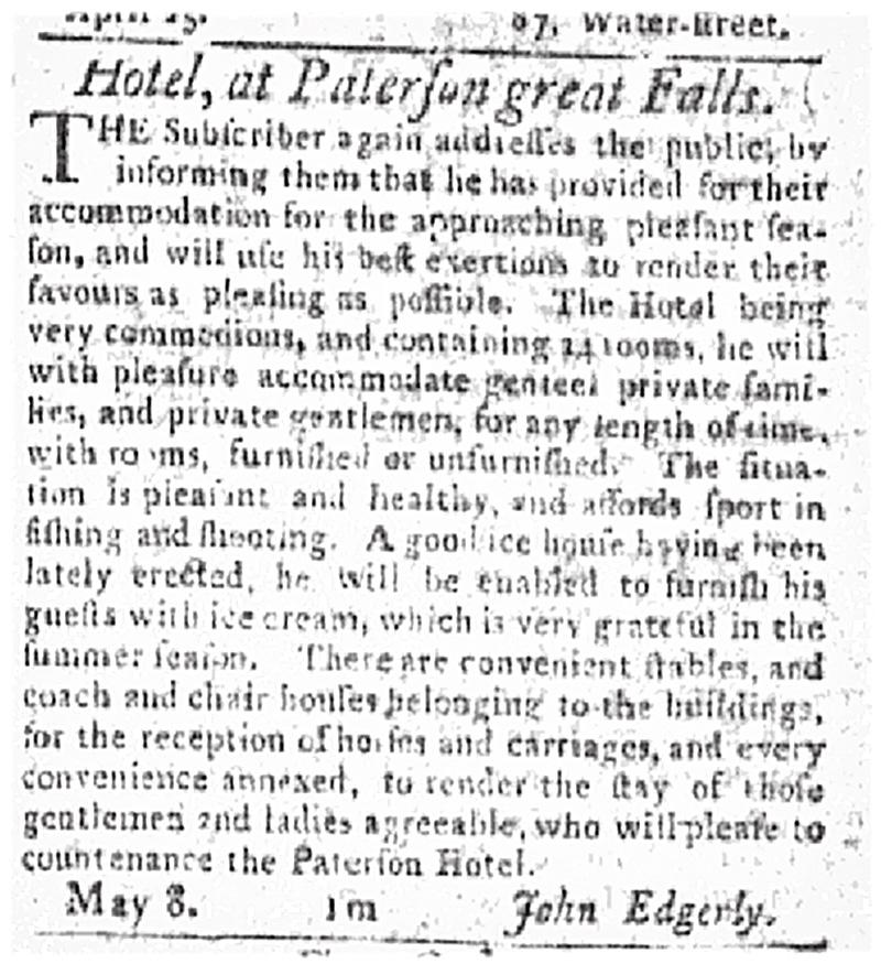 Patterson Hotel advertisement, New-York <em>Gazette</em>, 1797.