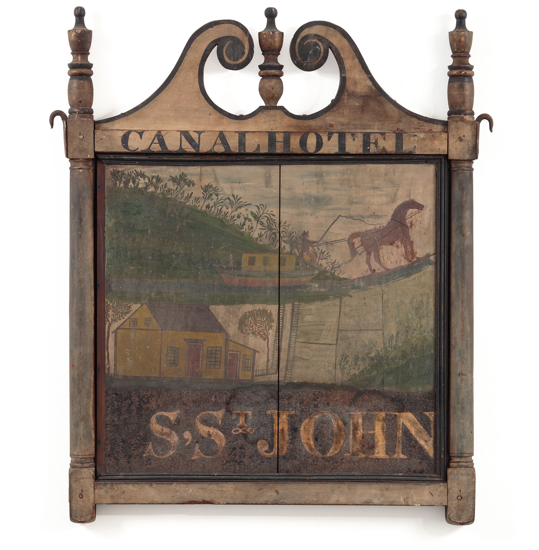 Sign for the Canal Hotel, (reverse identical). Port Jervis, New York, c. 1826, Paint on wooden board and frame, smalt, gold leaf, iron hardware, 41 x 32 in. Private collection. Image courtesy of David A. Schorsch and Eileen M. Smiles, Woodbury, CT. Both sides of the sign are decorated with the same images and lettering but show different amounts of wear.