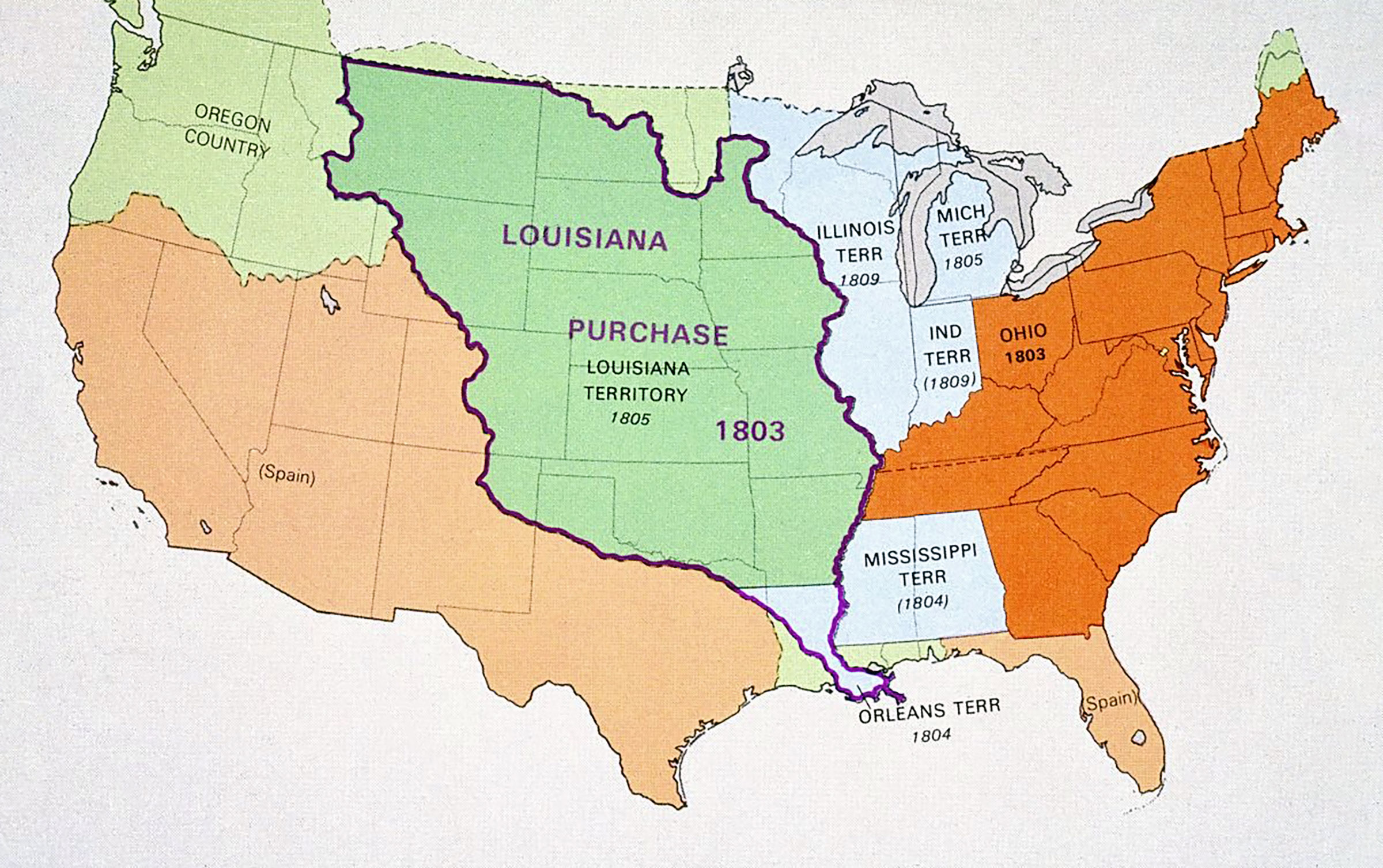Map showing the expansion of the United States with the Louisiana purchase.