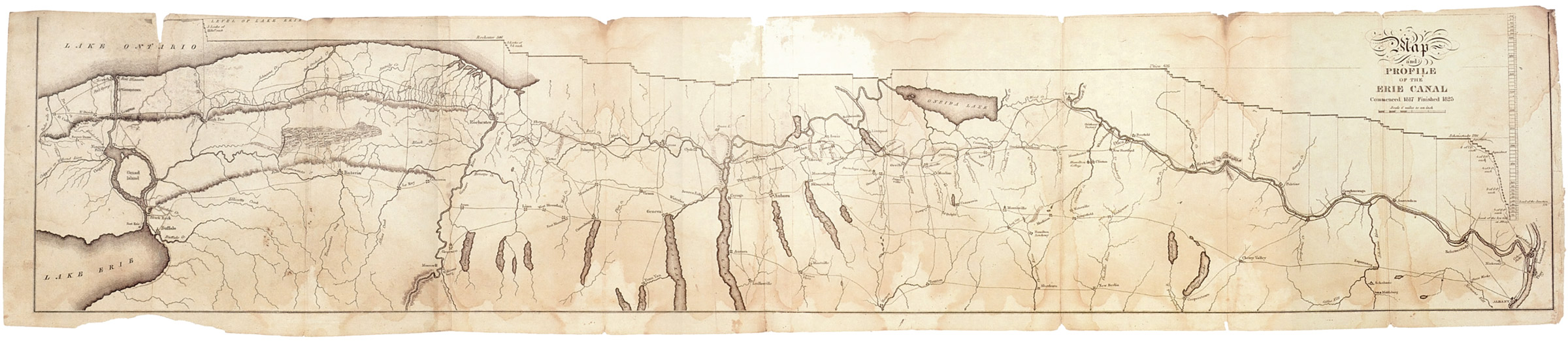 Map and profile of the Erie Canal -- Originally published in: Laws of the State of New York, in relation to the Erie and Champlain canals / Published by authority, under the direction of the Secretary of State (E. and E. Hosford, printers, Albany, 1825).