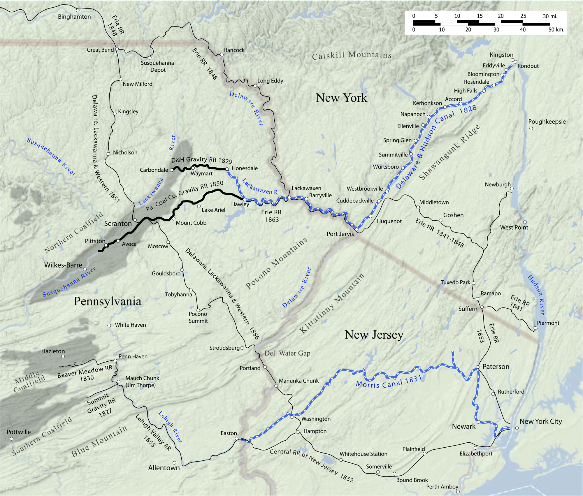 The Minisink region, where New York, Pennsylvania, and New Jersey meet.Thisc. 1865map showsthe completed Delaware and Hudson Canal (and associated Gravity Railroad), as well ascompeting canals and railroads. Wikipedia.