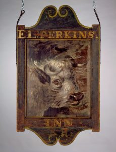 Sign for Perkin's Inn, dated 1830, probably made ca. 1800-1820, West Greenwich, Rhode Island