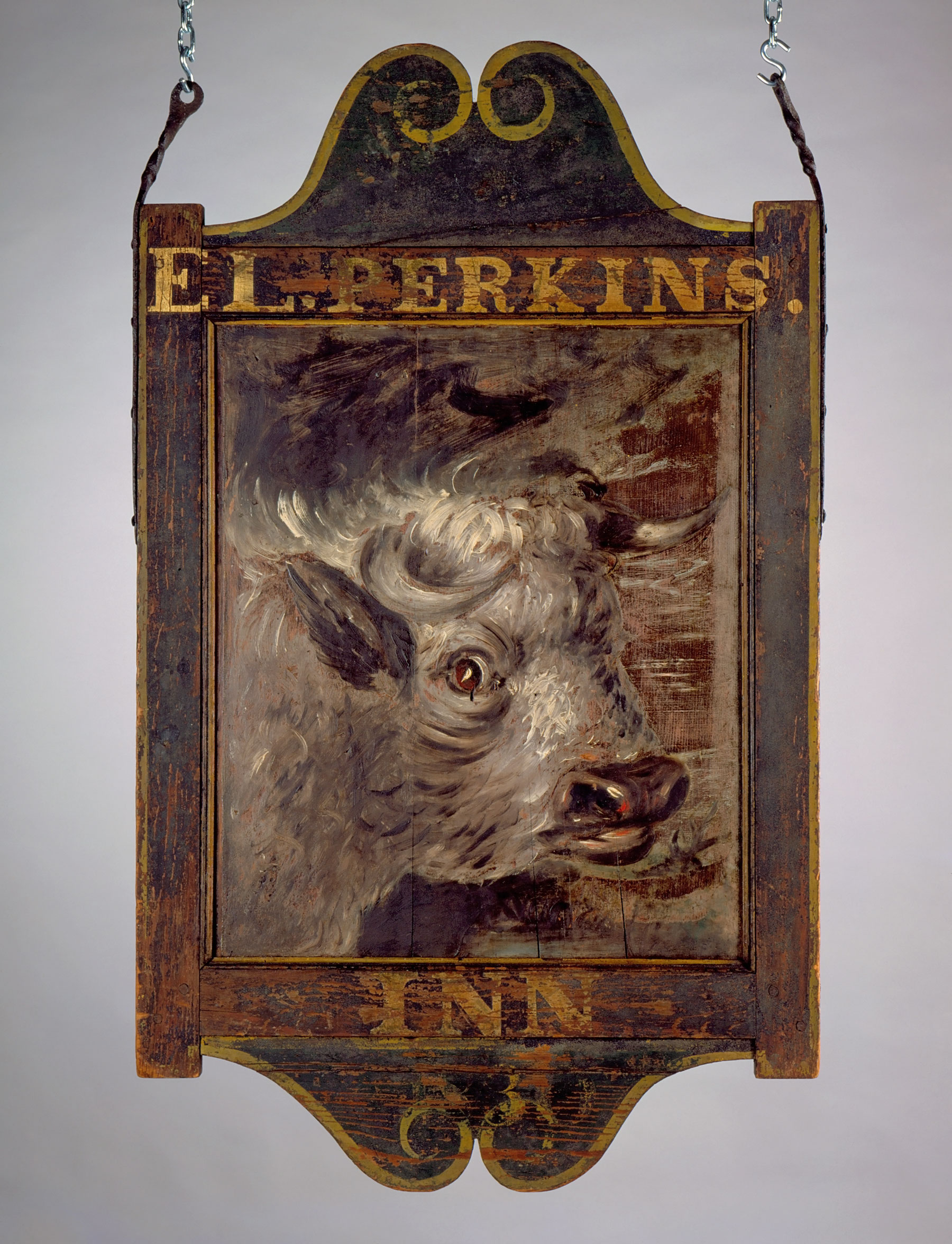 Sign for <em>Perkin's Inn</em>, dated 1830, probably made ca. 1800-1820, West Greenwich, Rhode Island. Paint on pine board, smalt, gold leaf, 47 ¼ x 28 ¼ in. Innholders: Probably Shapley Morgan; Thomas T. Hazard; possibly Elliot Lee Perkins. Maker unknown. Connecticut Historical Society, Hartford, Connecticut. Collection of Morgan B. Brainard, Gift of Mrs. Morgan B. Brainard, 1961.63.39.