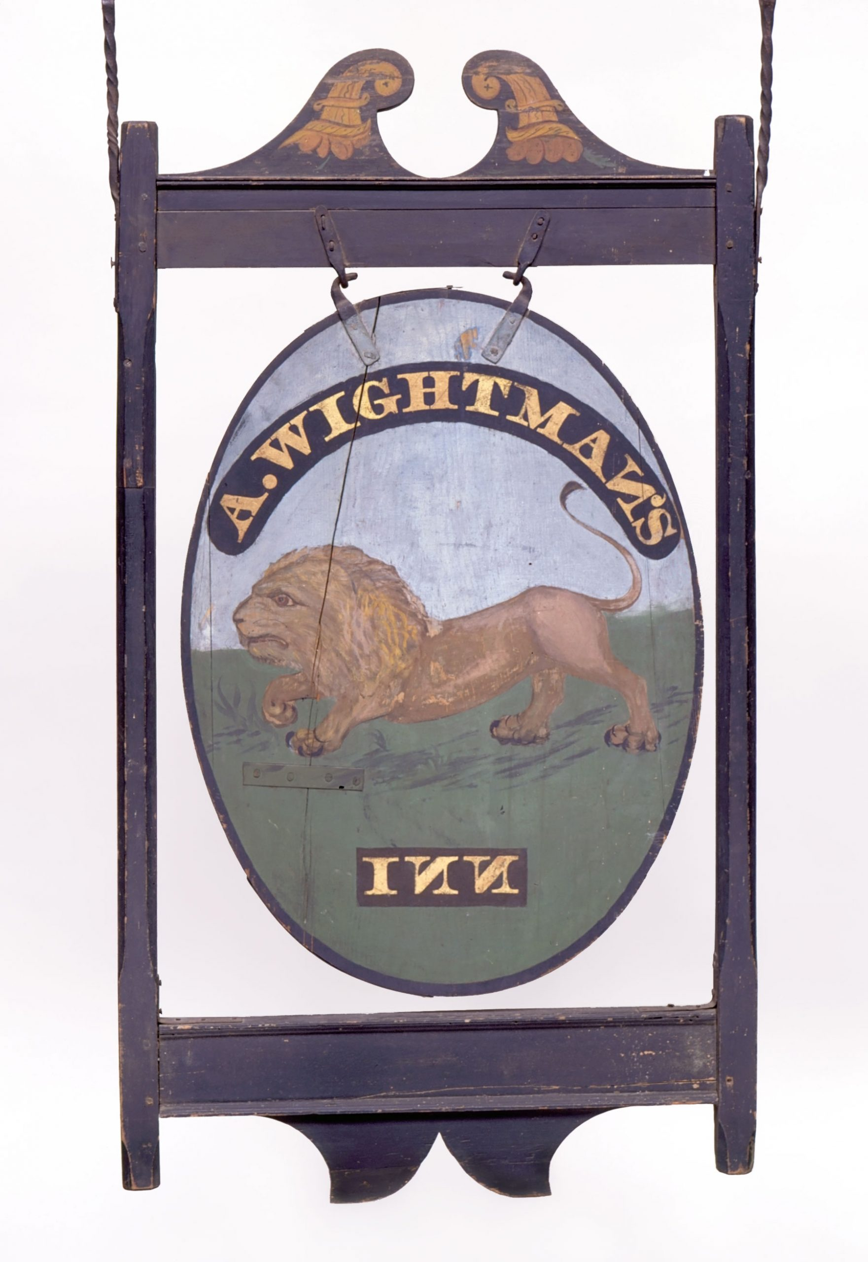 Sign for <em>Wightman's Inn</em>, ca. 1815-1824, Waterford, Connecticut (Quaker Hill section). Paint on pine board and frame, sand, gold leaf, iron hardware, 55 ¾ x 31 in. Innholder: Asa Wightman (active 1815-1836); Mercy Smith Wightman (active 1836-1839). Maker unknown. Connecticut Historical Society, Hartford, Connecticut. Collection of Morgan B. Brainard, Gift of Mrs. Morgan B. Brainard, 1961.63.51.