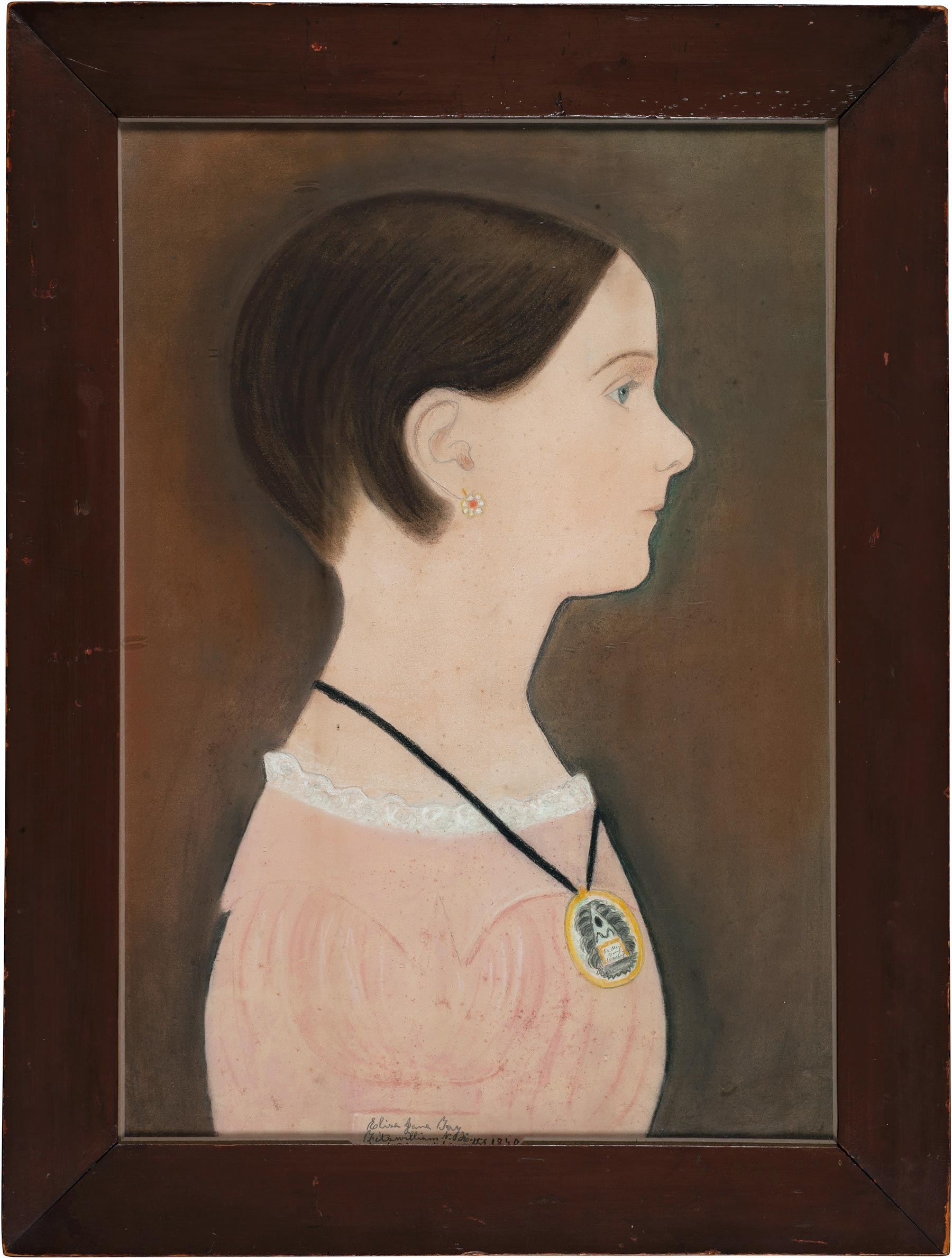 Ruth Henshaw Bascom (1772-1848), Portrait of Eliza Jane Fay, 1840. Pastel and pencil on paper, 21 ¼ × 16 × 1 in. (54 × 40.6 × 2.5 cm). Fenimore Art Museum, Gift of Stephen C. Clark, N0288.1961.