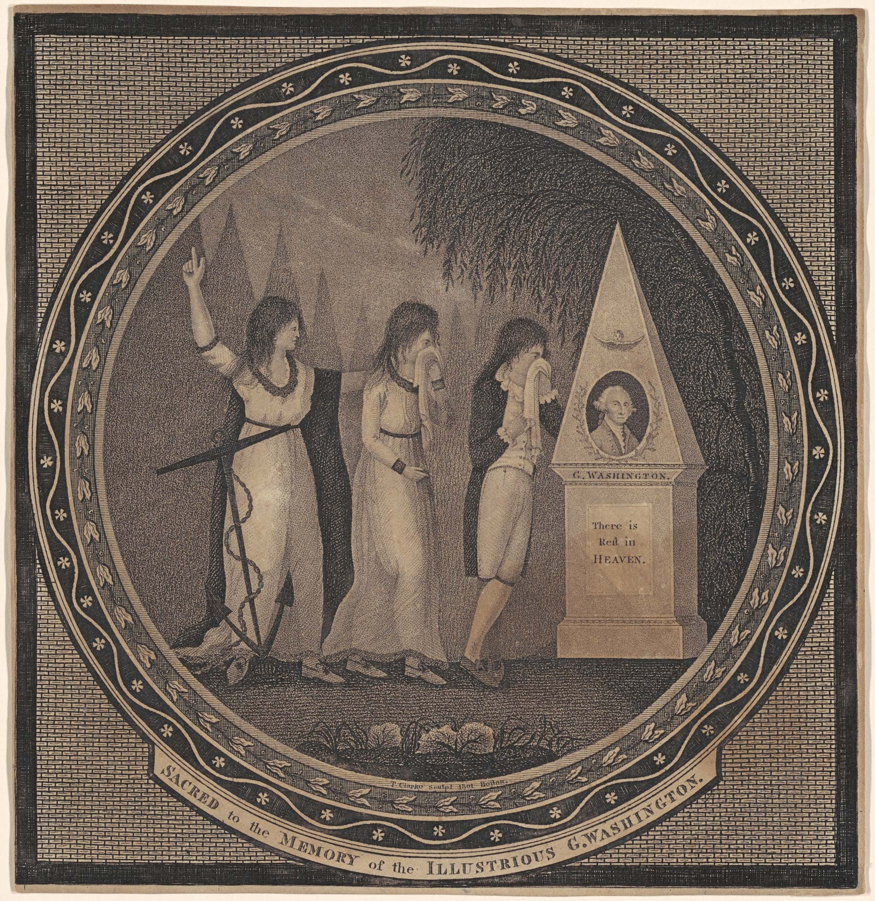 Thomas Clarke (American, active c. 1800), Sacred to the Memory of the Illustrious George Washington, 1801. Engraving in black on wove paper, 8 ⅜ × 8 in. (21.27 × 20.32 cm). National Gallery of Art, Corcoran Collection (museum purchase, Mary E. Maxwell Fund), 2015.19.1053.