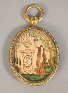 """Memorial pendant with miniature painting, inscribed """"MSL,"""" ca. 1810"""
