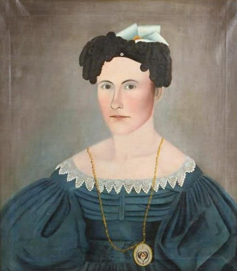 Portrait of Sally Currier (1801–1887) by an unidentified artist. Enfield, New Hampshire, ca. 1830. Oil on canvas, 27 x 24 in. Photograph courtesy John McInnis Auctioneers, Amesbury, Massachusetts.