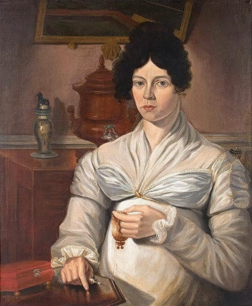 Portrait of a Woman Seated at Worktable by an unknown artist, ca. 1820. Oil on canvas, 24 x 29 ½ in. Photograph courtesy Antiques at West Townsend, West Townsend, Massachusetts.