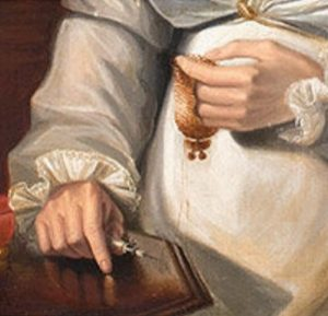 Portrait of a Woman Seated at Worktable by an unknown artist, detail