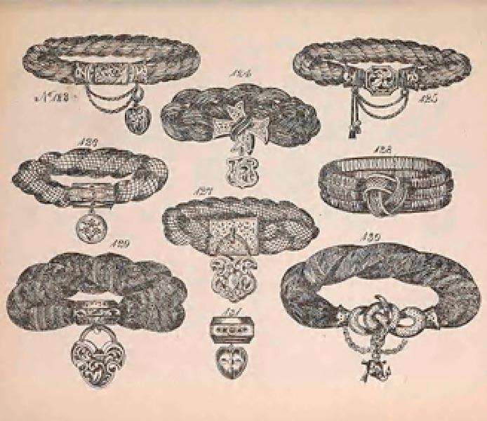 """<a href=""""https://library.si.edu/digital-library/book/jewellersquotbo00will"""" target=""""_blank"""" rel=""""noopener"""">The Jewellers' Book of Patterns in Hair Work</a>. Published and sold by William Halford & Charles Young, manufacturing jewellers, 1864."""