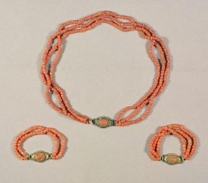 Coral bead child's necklace and matching armlets, Italy, ca