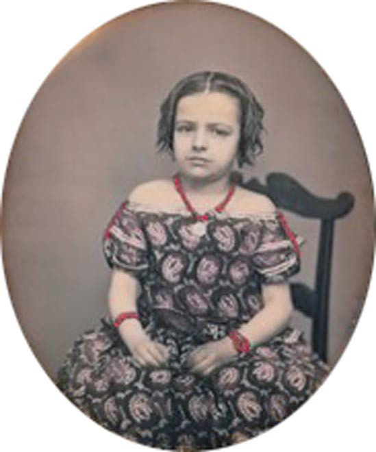 Charles Fredericks, Sixth plate daguerreotype of a young girl, New York, New York, ca. 1857-1859. Photograph courtesy Fine Daguerreotypes & Photography, Exeter, New Hampshire.