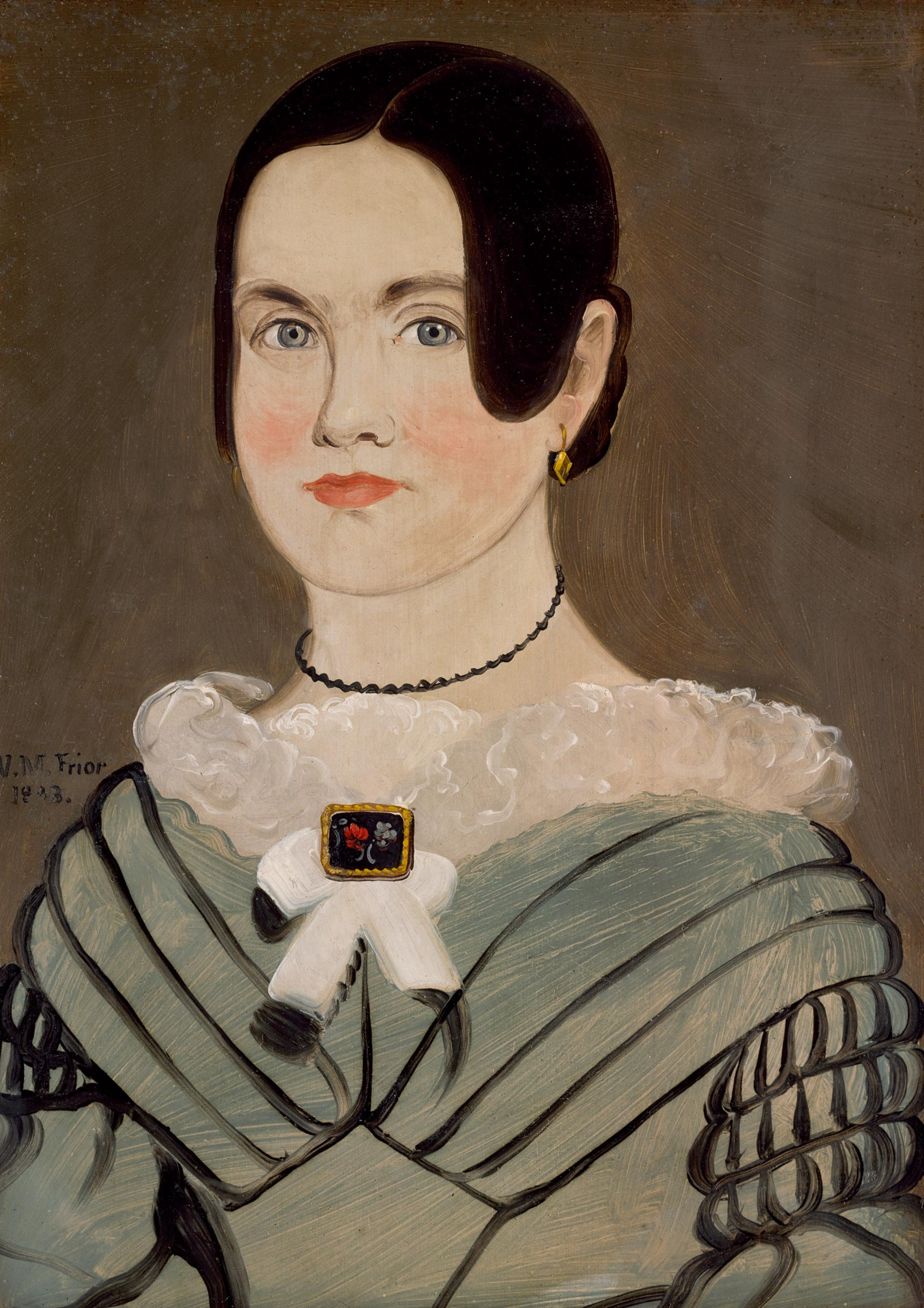 William Matthew Prior (American, 1806–1873), Portrait of Phebe Ann Carlton Hawes (Mrs. Philander Hawes) (1822–1881), Maine or Massachusetts, 1843. Oil on cardboard, 13 ¾ x 9 ⅞ in. (34.9 x 25.1cm). Colonial Williamsburg Foundation, Gift of Dr. and Mrs. Paul Middleton, 1986.100.1.