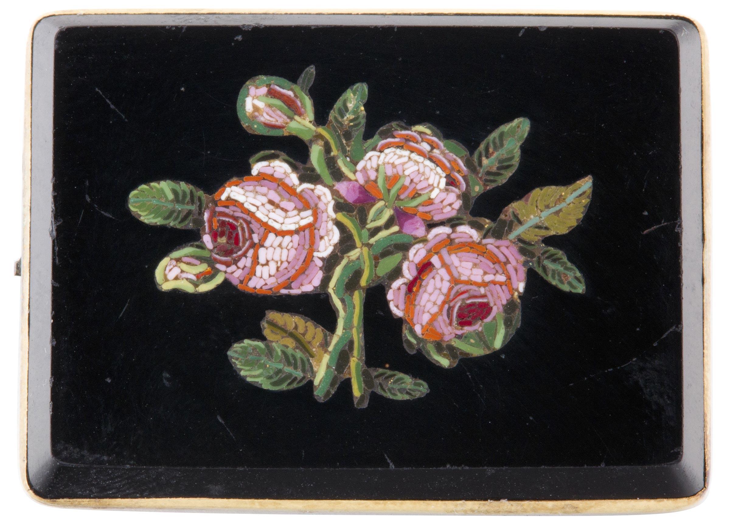 Mosaic tesserae brooch, Italy, ca. 1840–1850. Mosaic tesserae set in black stone on gold mount, 1 ⅝ x 1 3⁄16 in. (4.1 x 3 cm). Worcester Art Museum, Bequest of Stephen Salisbury III, 1907.437.1.