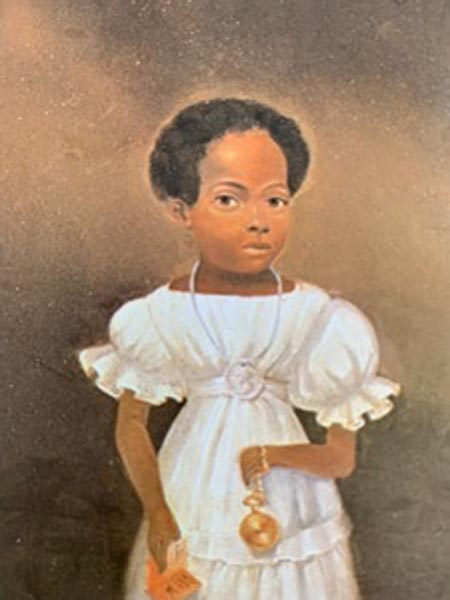 Portrait of Young Girl with Medal by an unidentified artist, probably New York State. Oil on wood. Whereabouts unknown.