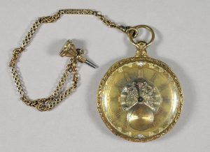 Pocket watch with watch chain and fob, 1830–1849