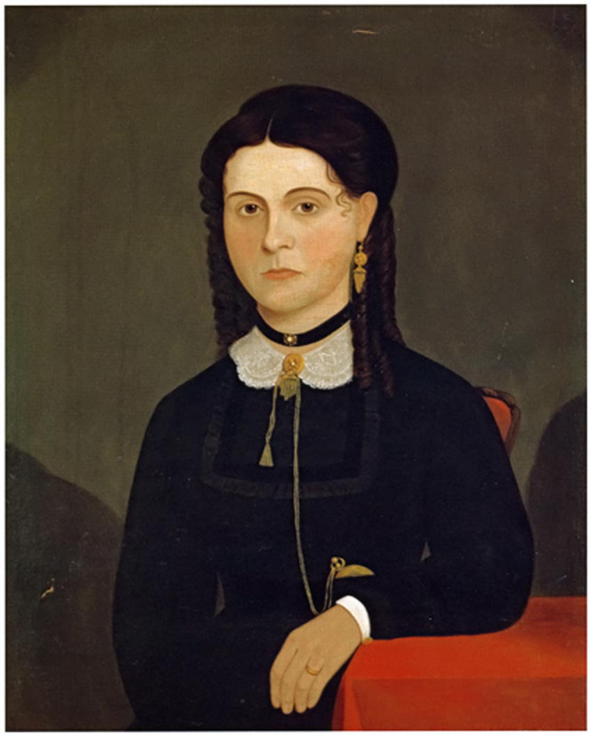 Portrait of Mrs. James Winn by an unidentified artist, ca. 1853-1860. Oil on canvas. Peabody Essex Museum, Gift of Mary W. Parker Newhall. 130.393.