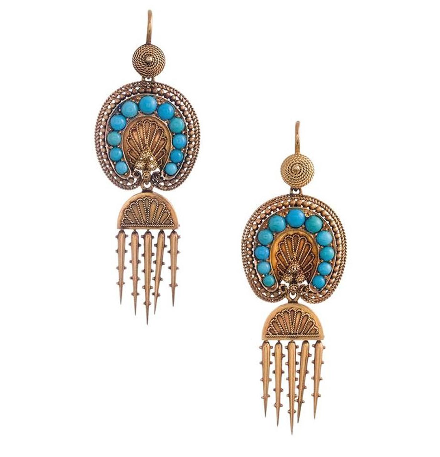 """Pair of """"Day-to-Night"""" Double Drop Fringe Earrings, ca. 1870. 18-karat gold and turquoise, 2 ¼ inches. Photograph courtesy of Fourtané Jewelers, Carmel-by-the-Sea, California."""