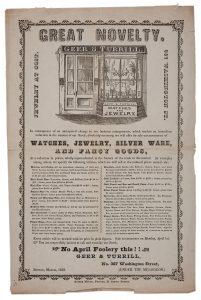 Advertisement for Geer & Turrill, Boston, Massachusetts, 1850
